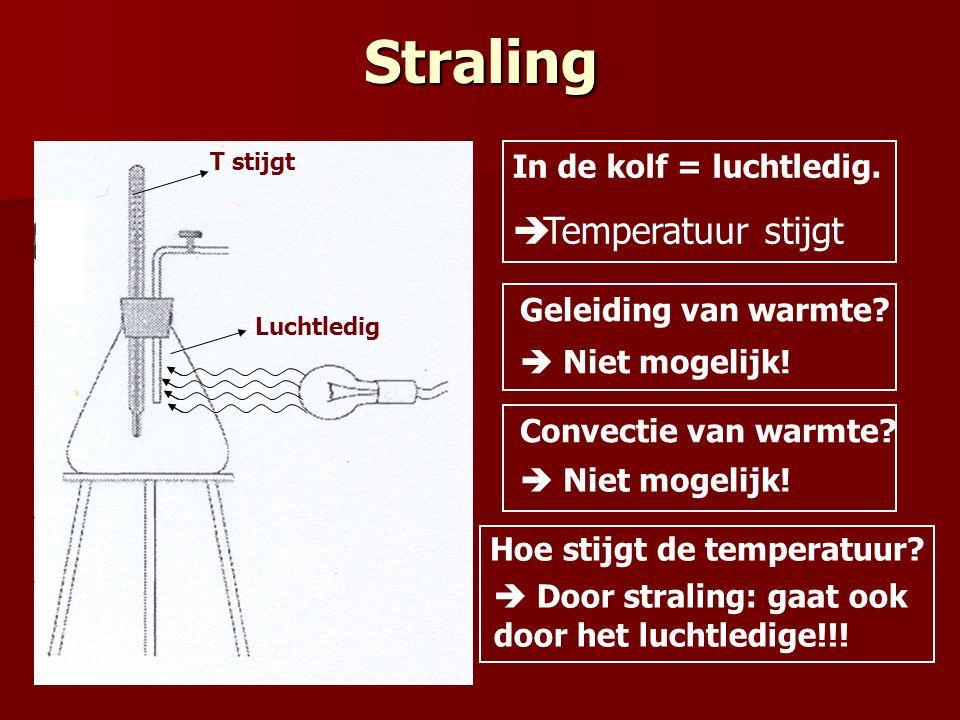 Straling In de kolf = luchtledig.  Temperatuur stijgt Geleiding van warmte? Convectie van warmte?  Niet mogelijk! Hoe stijgt de temperatuur?  Door