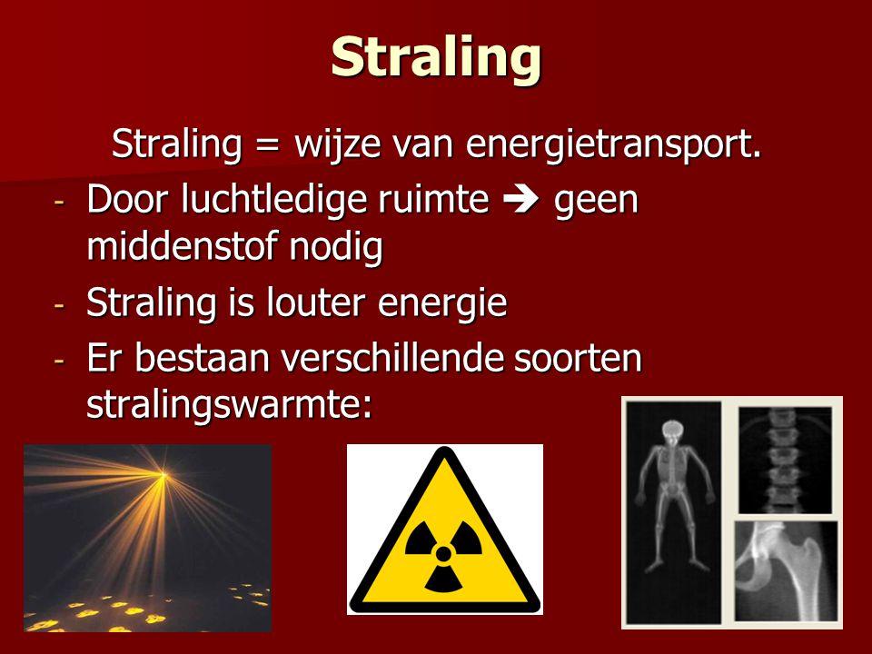 Straling Straling = wijze van energietransport. - Door luchtledige ruimte  geen middenstof nodig - Straling is louter energie - Er bestaan verschille
