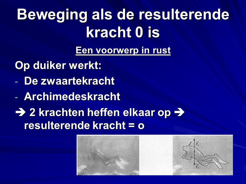 Beweging als de resulterende kracht 0 is Een voorwerp in rust Op duiker werkt: - De zwaartekracht - Archimedeskracht  2 krachten heffen elkaar op  resulterende kracht = o