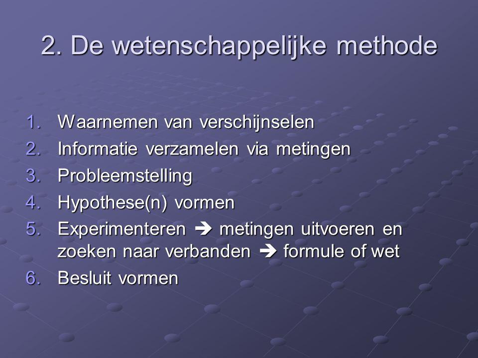 2. De wetenschappelijke methode 1.Waarnemen van verschijnselen 2.Informatie verzamelen via metingen 3.Probleemstelling 4.Hypothese(n) vormen 5.Experim