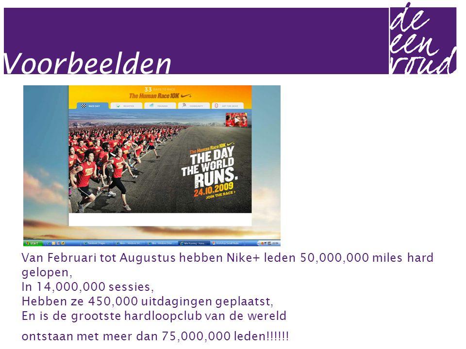 Van Februari tot Augustus hebben Nike+ leden 50,000,000 miles hard gelopen, In 14,000,000 sessies, Hebben ze 450,000 uitdagingen geplaatst, En is de grootste hardloopclub van de wereld ontstaan met meer dan 75,000,000 leden!!!!!!
