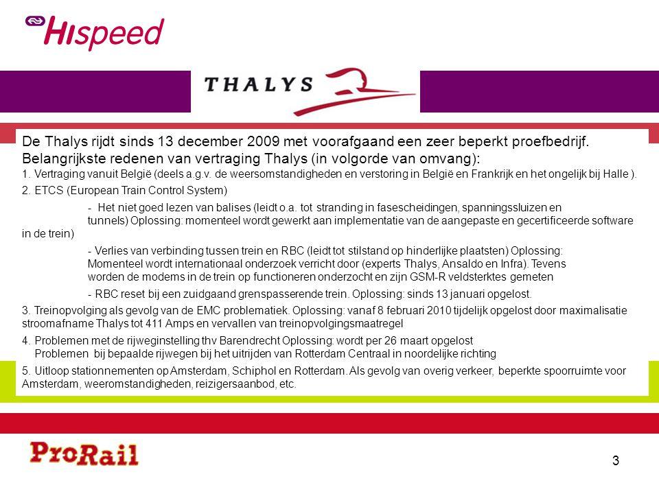 Uitval Thalys NB= Naar België, VB= Van België 4