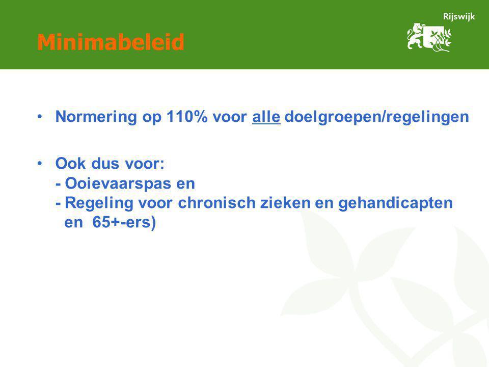 Minimabeleid Normering op 110% voor alle doelgroepen/regelingen Ook dus voor: - Ooievaarspas en - Regeling voor chronisch zieken en gehandicapten en 65+-ers)