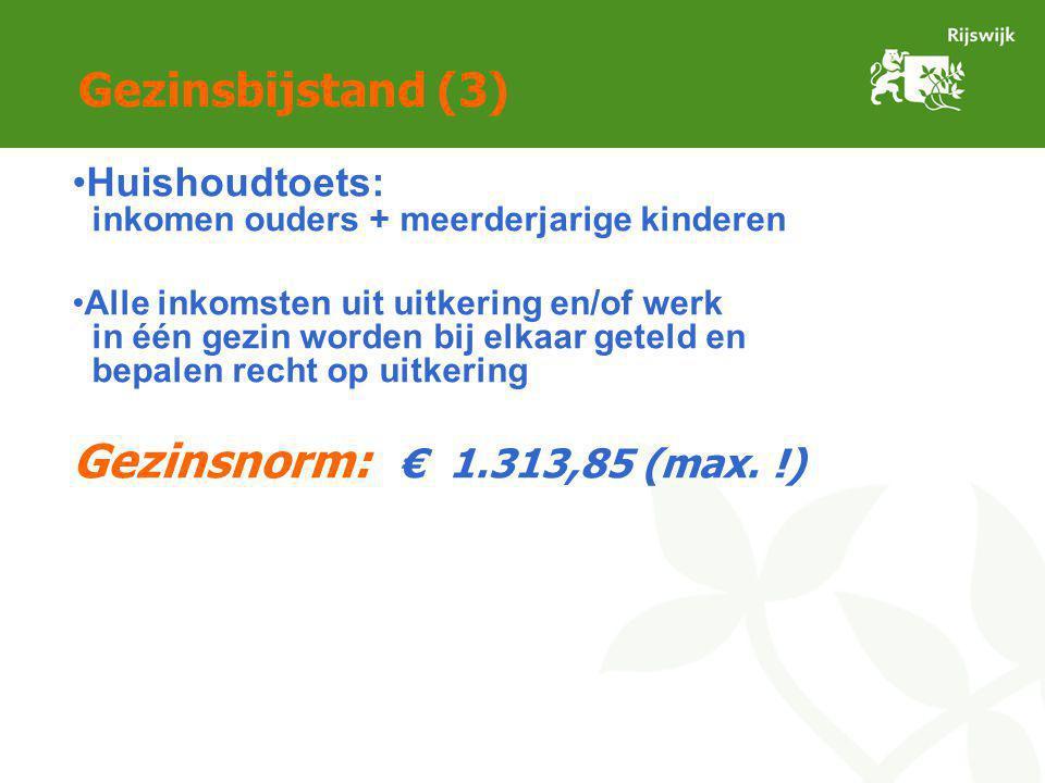 Gezinsbijstand (3) Huishoudtoets: inkomen ouders + meerderjarige kinderen Alle inkomsten uit uitkering en/of werk in één gezin worden bij elkaar geteld en bepalen recht op uitkering Gezinsnorm: € 1.313,85 (max.