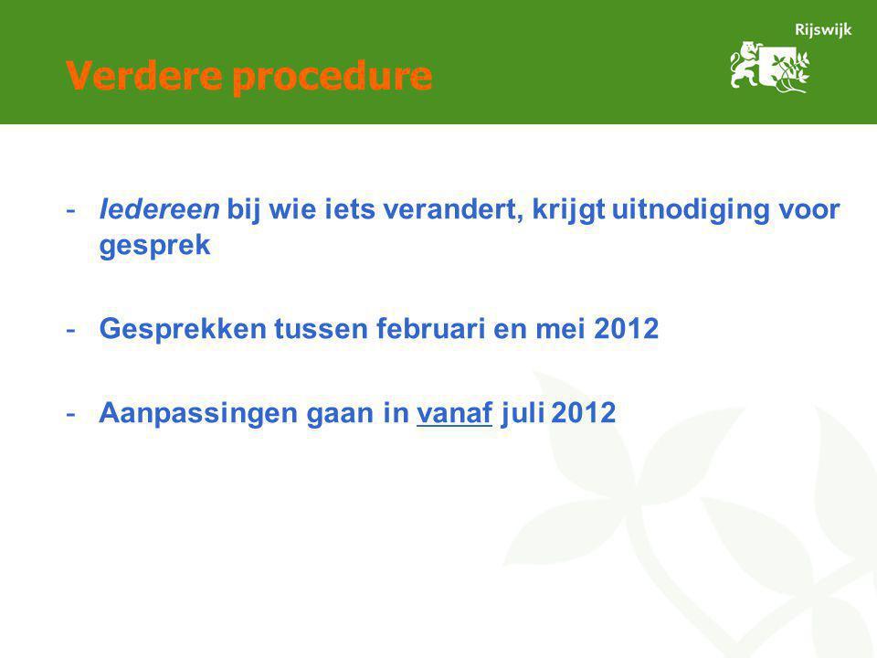 Verdere procedure -Iedereen bij wie iets verandert, krijgt uitnodiging voor gesprek -Gesprekken tussen februari en mei 2012 -Aanpassingen gaan in vanaf juli 2012