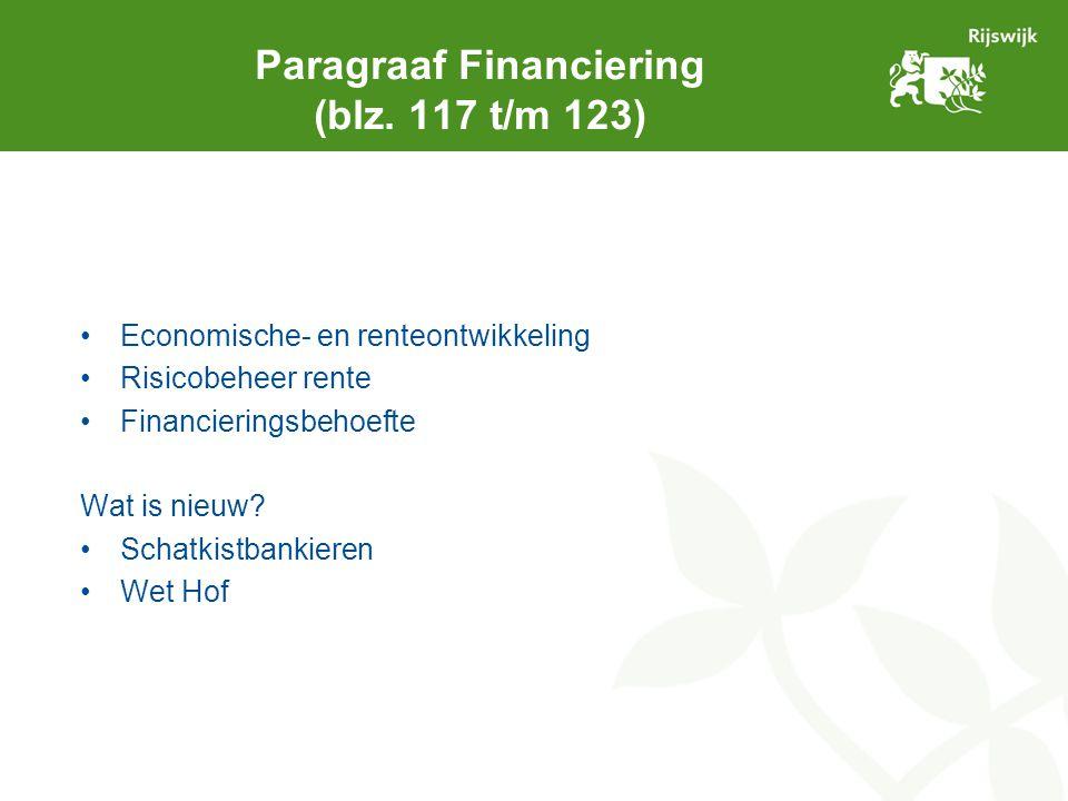 Paragraaf Financiering (blz. 117 t/m 123) Economische- en renteontwikkeling Risicobeheer rente Financieringsbehoefte Wat is nieuw? Schatkistbankieren