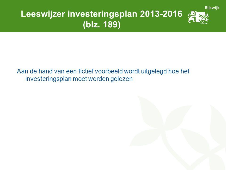 Leeswijzer investeringsplan 2013-2016 (blz. 189) Aan de hand van een fictief voorbeeld wordt uitgelegd hoe het investeringsplan moet worden gelezen