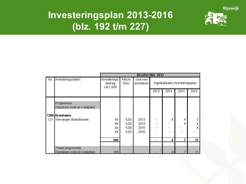 Investeringsplan 2013-2016 (blz. 192 t/m 227)