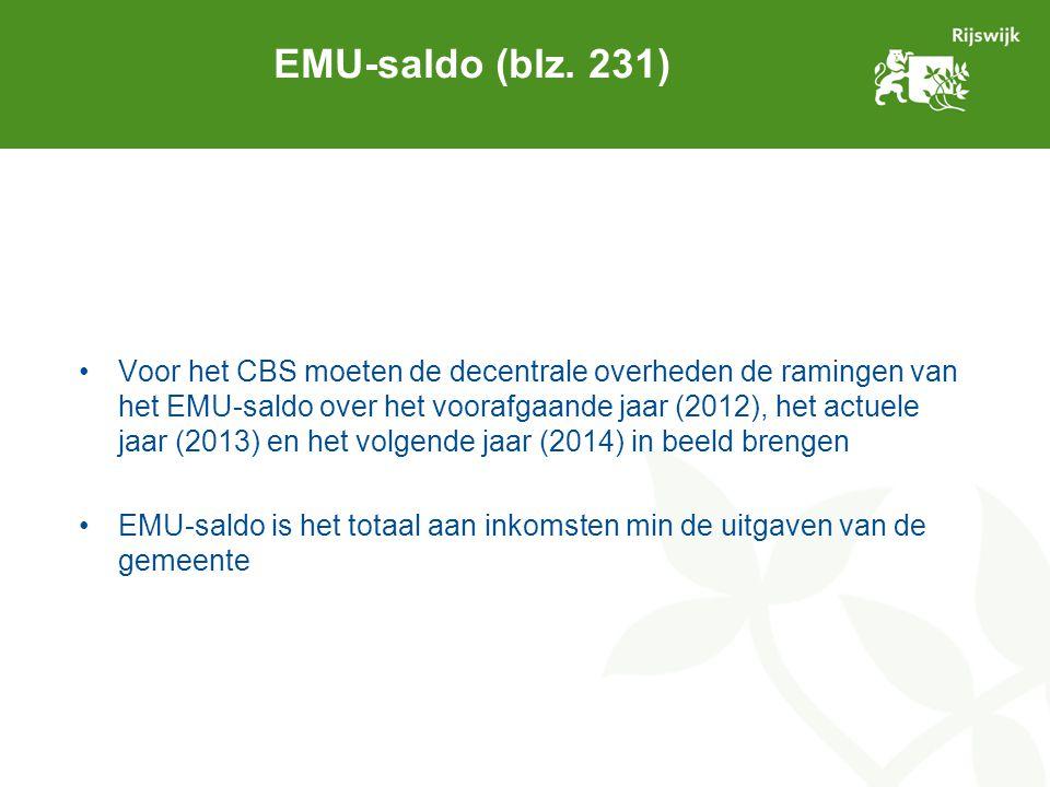 EMU-saldo (blz. 231) Voor het CBS moeten de decentrale overheden de ramingen van het EMU-saldo over het voorafgaande jaar (2012), het actuele jaar (20