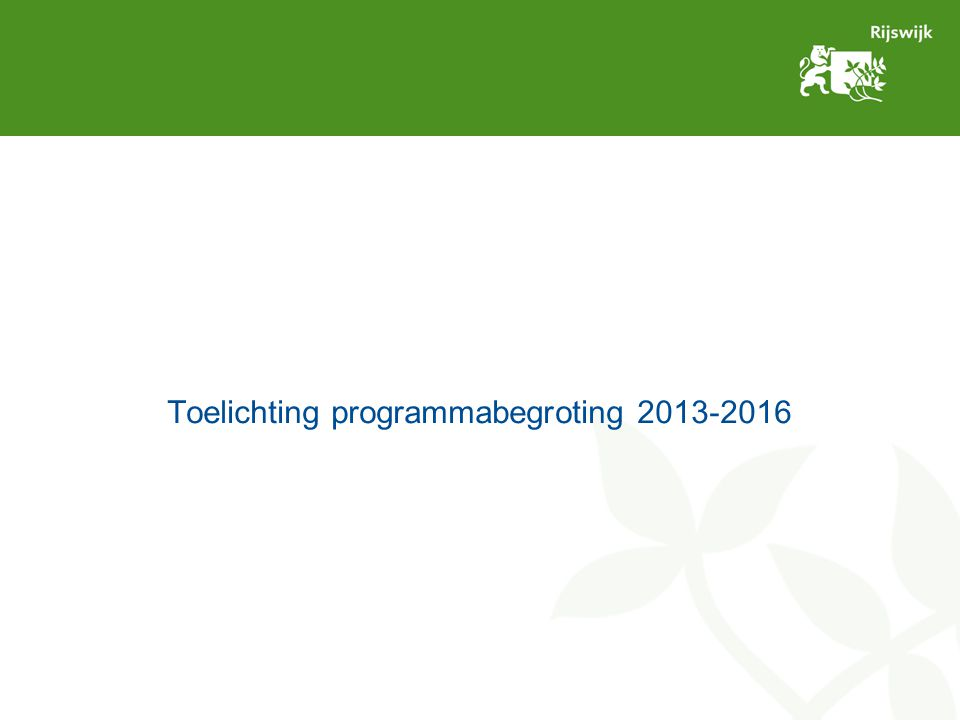 Toelichting programmabegroting 2013-2016