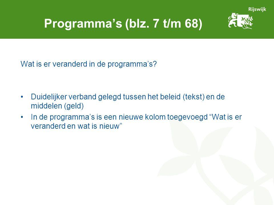 Wat is er veranderd in de programma's? Duidelijker verband gelegd tussen het beleid (tekst) en de middelen (geld) In de programma's is een nieuwe kolo