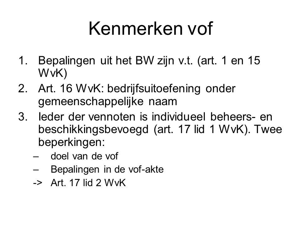 Kenmerken vof 1.Bepalingen uit het BW zijn v.t. (art. 1 en 15 WvK) 2.Art. 16 WvK: bedrijfsuitoefening onder gemeenschappelijke naam 3.Ieder der vennot