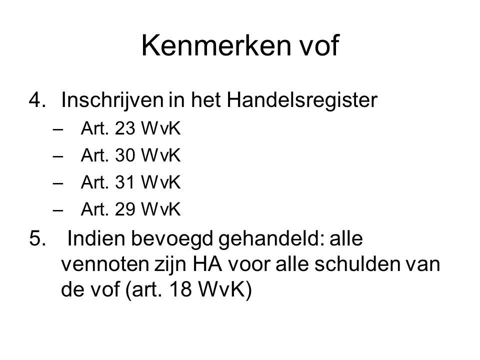 Kenmerken vof 4.Inschrijven in het Handelsregister –Art. 23 WvK –Art. 30 WvK –Art. 31 WvK –Art. 29 WvK 5. Indien bevoegd gehandeld: alle vennoten zijn