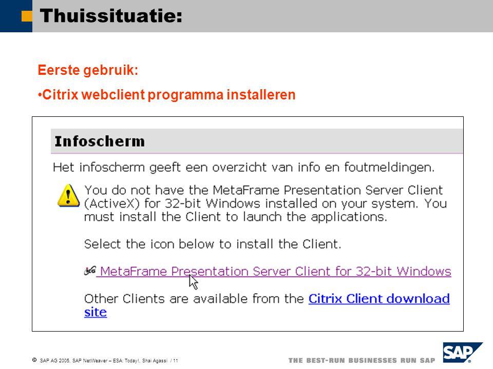  SAP AG 2005, SAP NetWeaver – ESA: Today!, Shai Agassi / 11 Thuissituatie: Eerste gebruik: Citrix webclient programma installeren