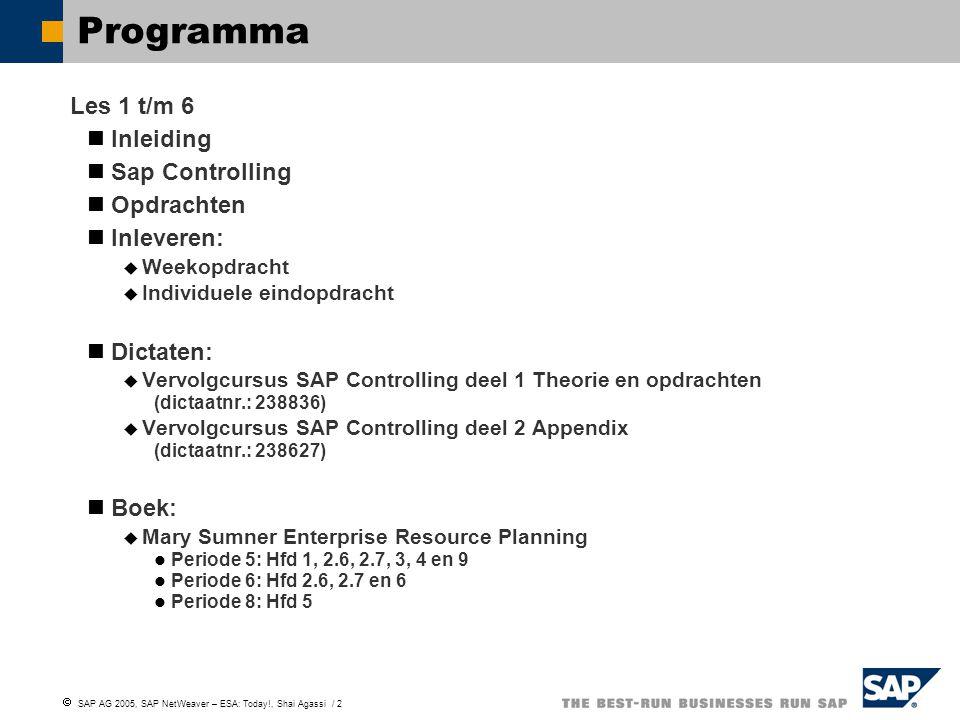  SAP AG 2005, SAP NetWeaver – ESA: Today!, Shai Agassi / 2 Programma Les 1 t/m 6 Inleiding Sap Controlling Opdrachten Inleveren:  Weekopdracht  Ind