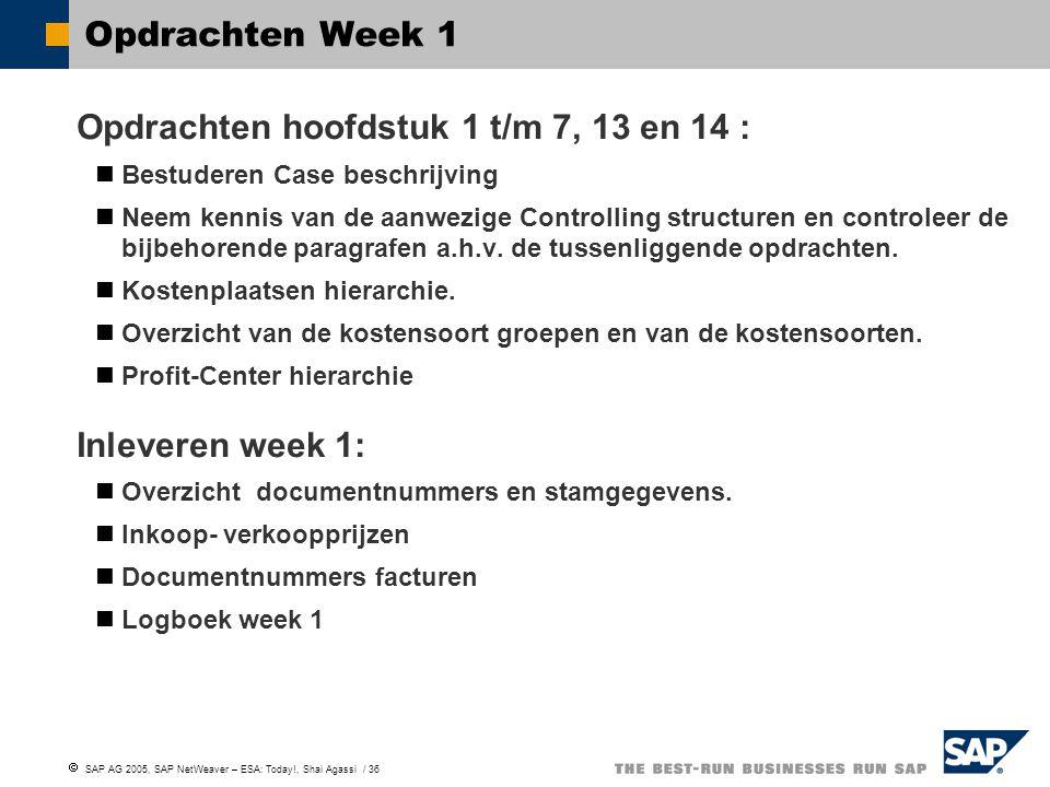  SAP AG 2005, SAP NetWeaver – ESA: Today!, Shai Agassi / 36 Opdrachten Week 1 Opdrachten hoofdstuk 1 t/m 7, 13 en 14 : Bestuderen Case beschrijving N