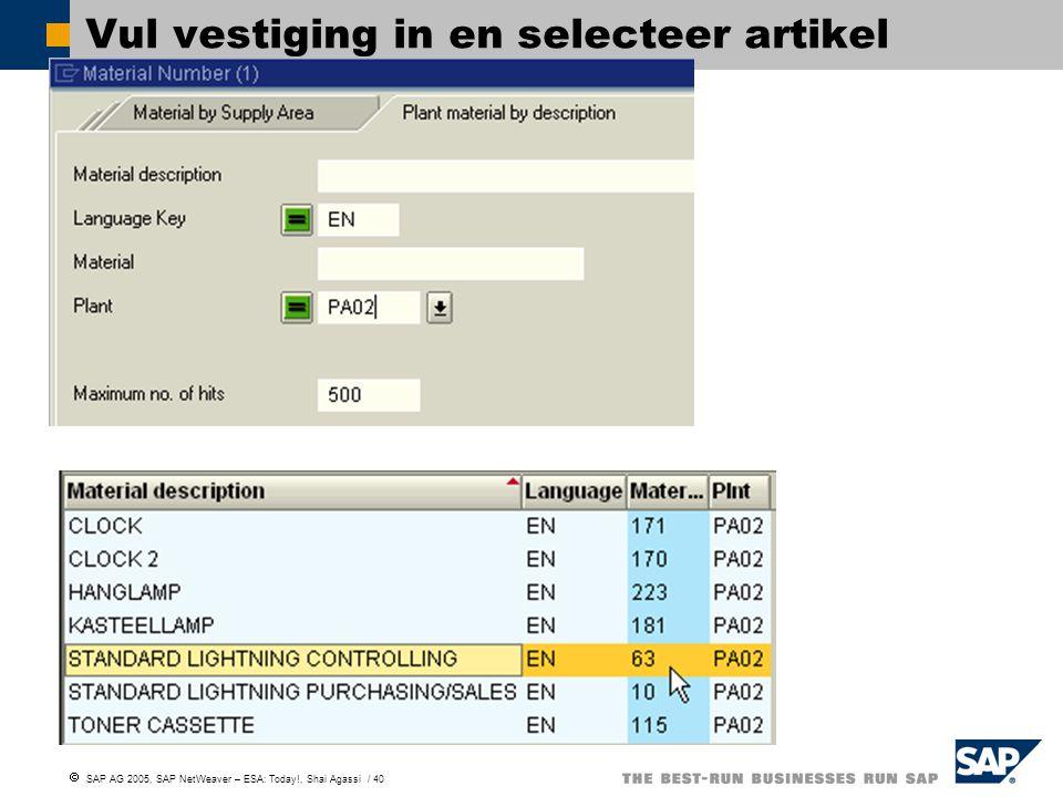  SAP AG 2005, SAP NetWeaver – ESA: Today!, Shai Agassi / 40 Vul vestiging in en selecteer artikel