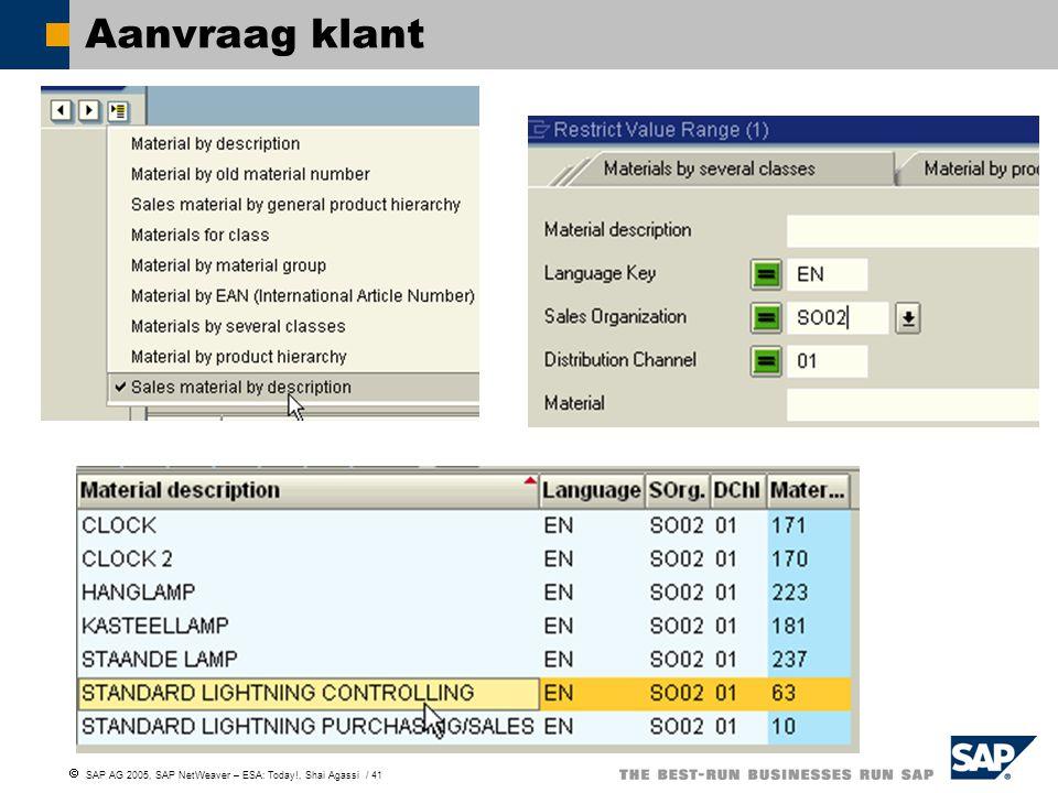  SAP AG 2005, SAP NetWeaver – ESA: Today!, Shai Agassi / 41 Aanvraag klant