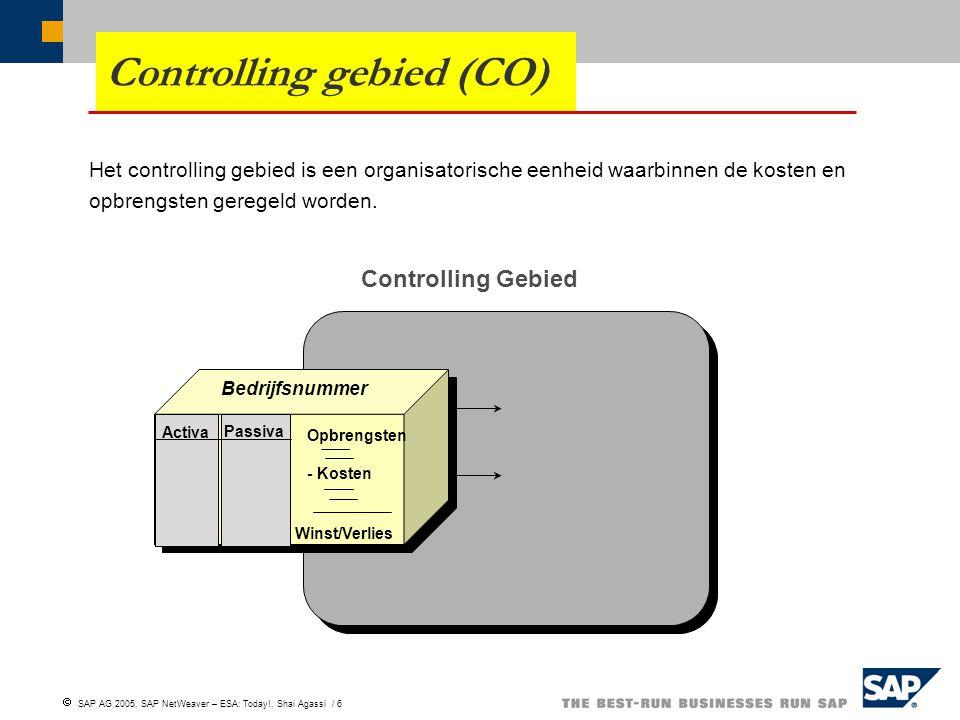  SAP AG 2005, SAP NetWeaver – ESA: Today!, Shai Agassi / 6 Controlling gebied (CO) Het controlling gebied is een organisatorische eenheid waarbinnen