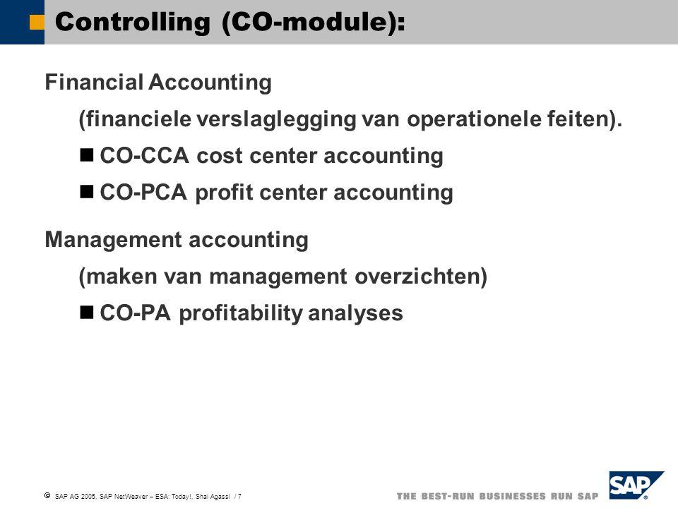  SAP AG 2005, SAP NetWeaver – ESA: Today!, Shai Agassi / 7 Controlling (CO-module): Financial Accounting (financiele verslaglegging van operationele