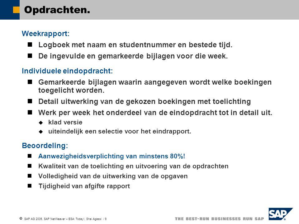  SAP AG 2005, SAP NetWeaver – ESA: Today!, Shai Agassi / 9 Opdrachten. Weekrapport: Logboek met naam en studentnummer en bestede tijd. De ingevulde e