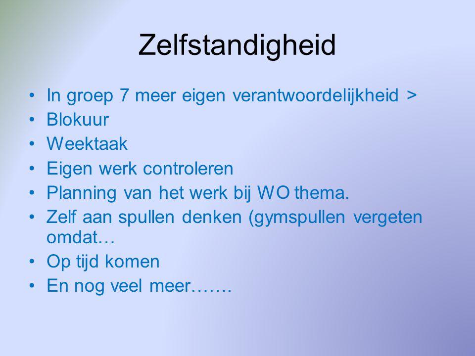 Zelfstandigheid In groep 7 meer eigen verantwoordelijkheid > Blokuur Weektaak Eigen werk controleren Planning van het werk bij WO thema.
