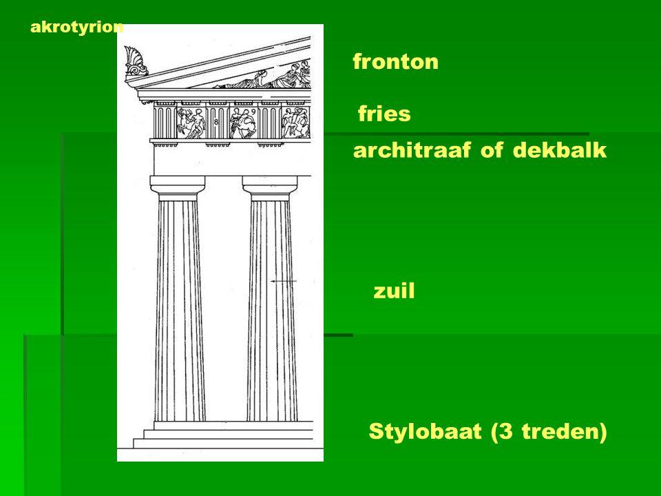 fronton fries architraaf of dekbalk zuil Stylobaat (3 treden) akrotyrion