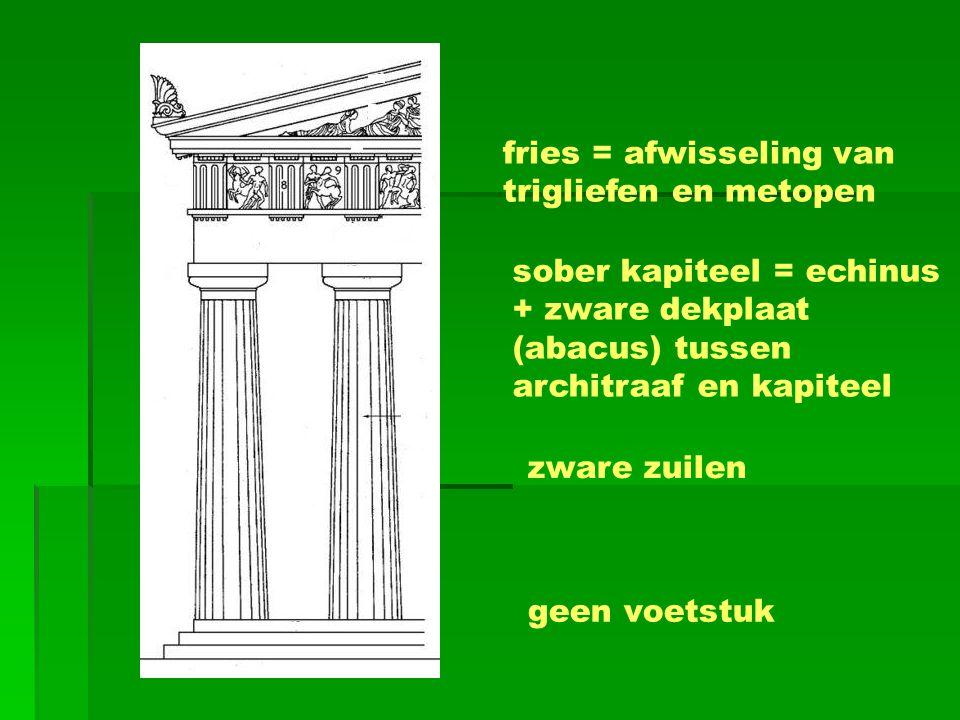 fries = afwisseling van trigliefen en metopen sober kapiteel = echinus + zware dekplaat (abacus) tussen architraaf en kapiteel zware zuilen geen voets