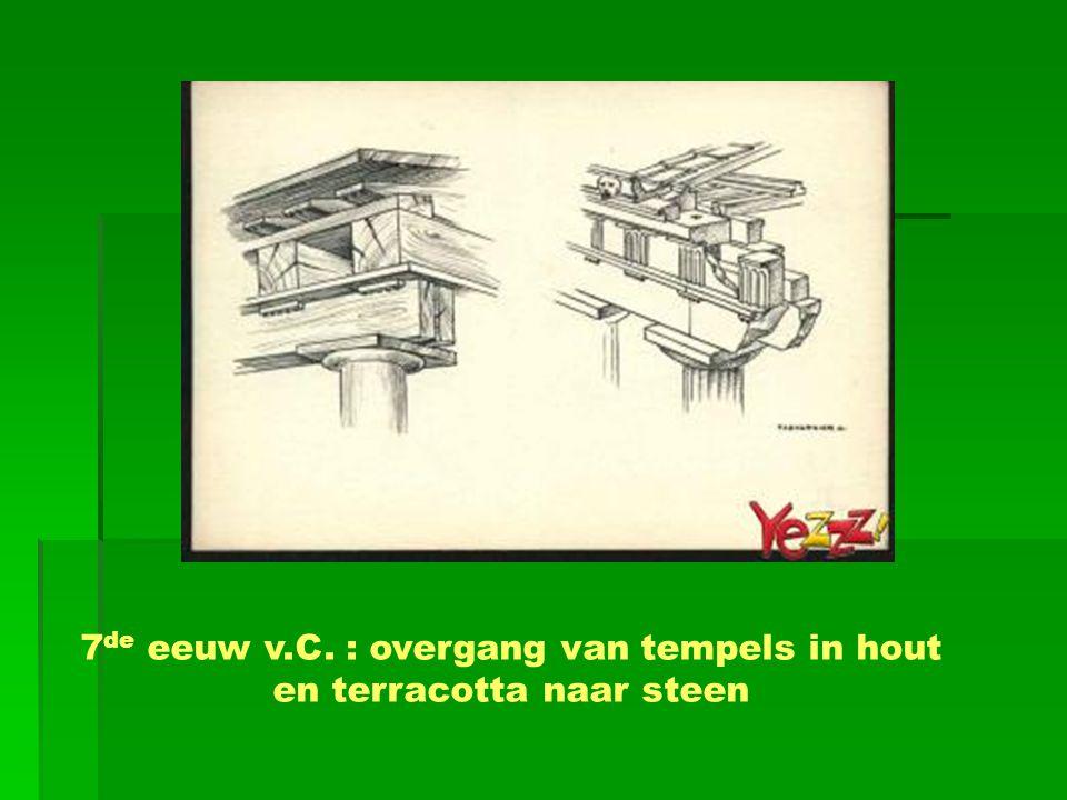 7 de eeuw v.C. : overgang van tempels in hout en terracotta naar steen