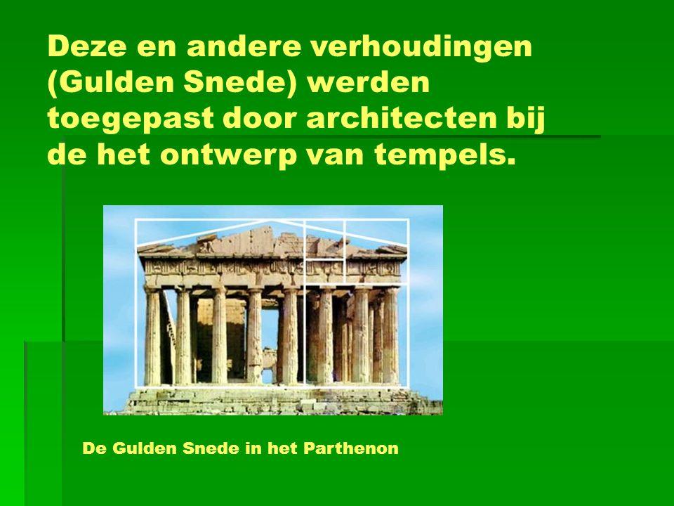 Deze en andere verhoudingen (Gulden Snede) werden toegepast door architecten bij de het ontwerp van tempels. De Gulden Snede in het Parthenon