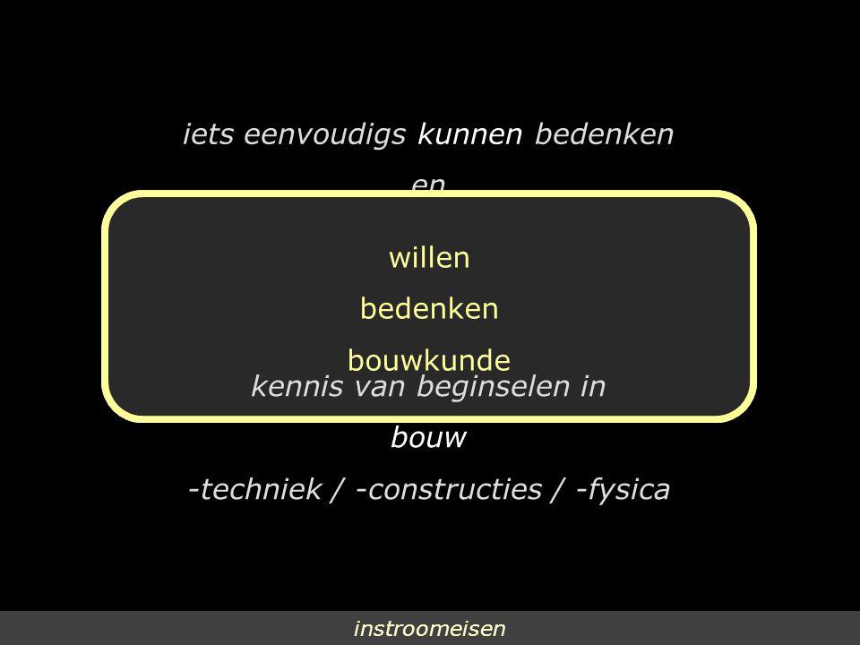 instroomeisen iets eenvoudigs kunnen bedenken en iets gecompliceerds willen maken kennis van beginselen in bouw -techniek / -constructies / -fysica willen bedenken bouwkunde