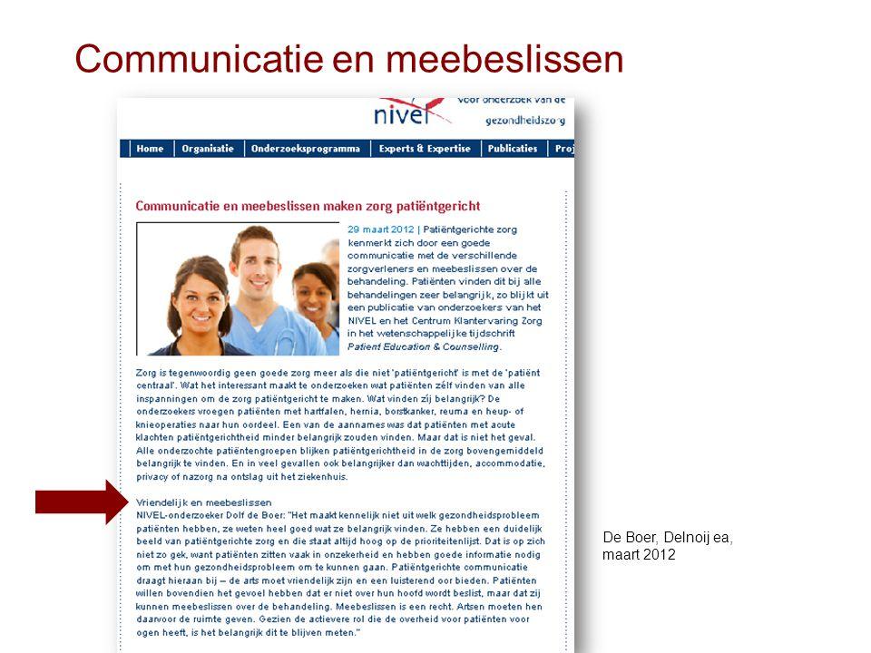 Communicatie en meebeslissen De Boer, Delnoij ea, maart 2012
