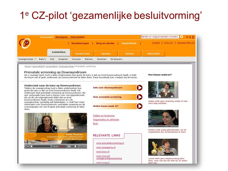 1 e CZ-pilot 'gezamenlijke besluitvorming'