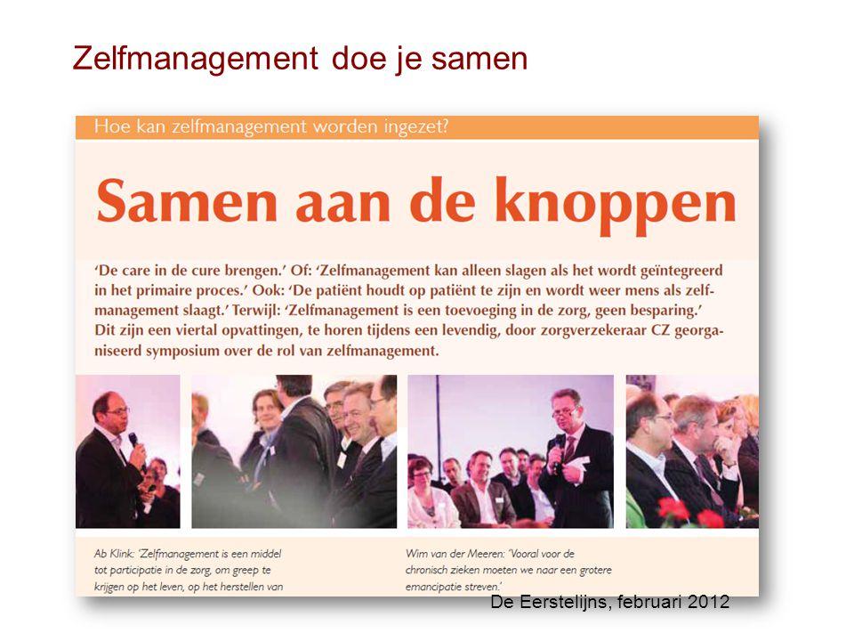 Zelfmanagement doe je samen De Eerstelijns, februari 2012