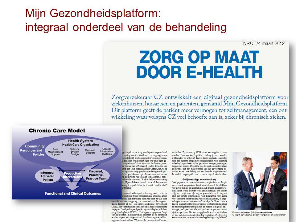 Mijn Gezondheidsplatform: integraal onderdeel van de behandeling NRC 24 maart 2012