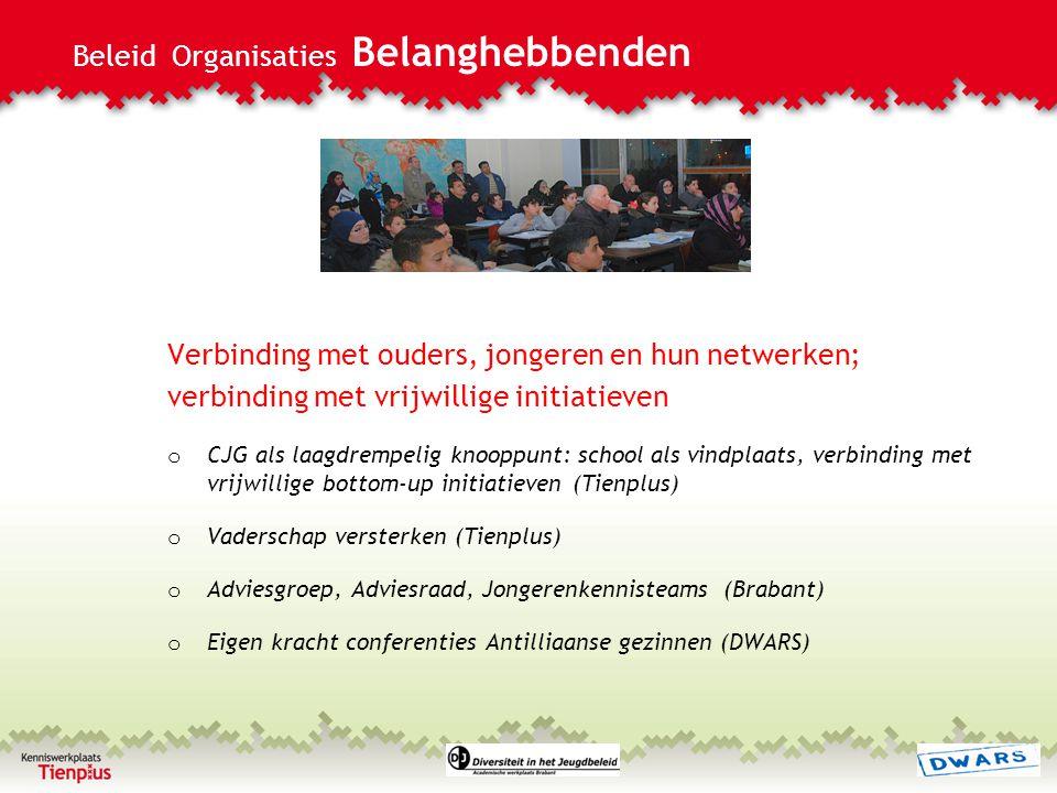 Beleid Organisaties Belanghebbenden Verbinding met ouders, jongeren en hun netwerken; verbinding met vrijwillige initiatieven o CJG als laagdrempelig