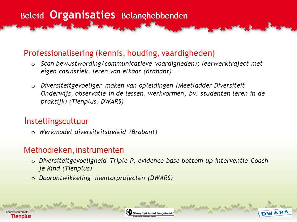 Beleid Organisaties Belanghebbenden Professionalisering (kennis, houding, vaardigheden) o Scan bewustwording/communicatieve vaardigheden); leerwerktra