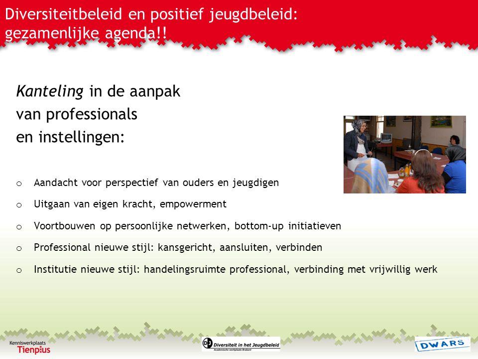 Diversiteitbeleid en positief jeugdbeleid: gezamenlijke agenda!! Kanteling in de aanpak van professionals en instellingen: o Aandacht voor perspectief