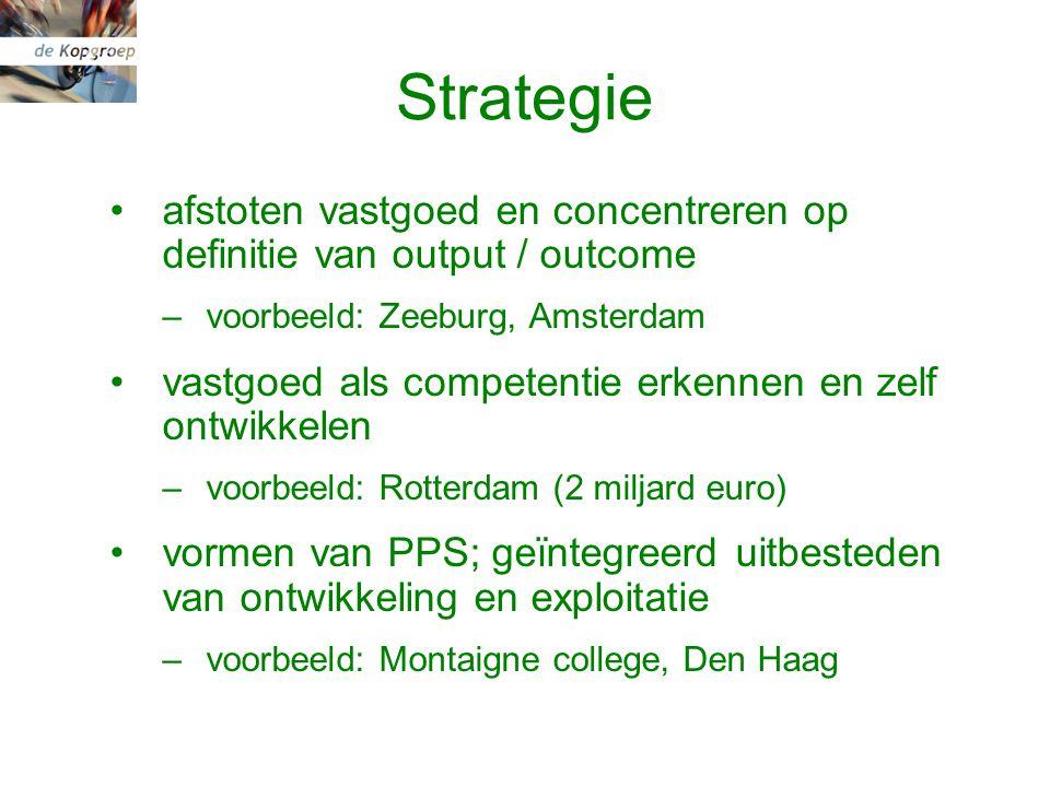 Strategie afstoten vastgoed en concentreren op definitie van output / outcome –voorbeeld: Zeeburg, Amsterdam vastgoed als competentie erkennen en zelf ontwikkelen –voorbeeld: Rotterdam (2 miljard euro) vormen van PPS; geïntegreerd uitbesteden van ontwikkeling en exploitatie –voorbeeld: Montaigne college, Den Haag