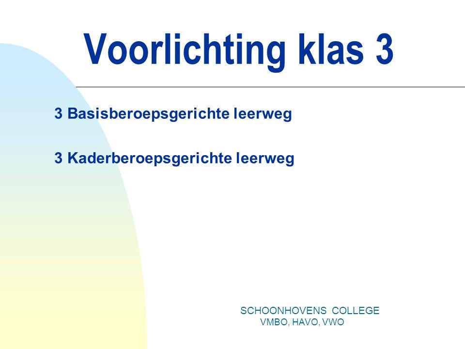 Voorlichting klas 3 3 Basisberoepsgerichte leerweg 3 Kaderberoepsgerichte leerweg SCHOONHOVENS COLLEGE VMBO, HAVO, VWO
