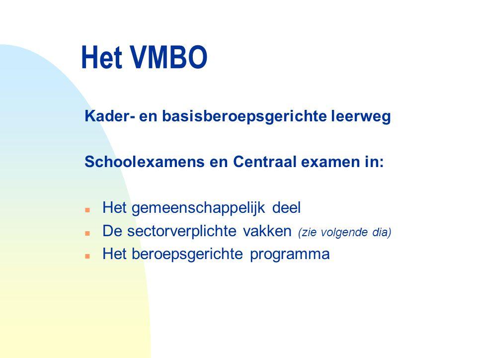 Het VMBO Kader- en basisberoepsgerichte leerweg Schoolexamens en Centraal examen in: n Het gemeenschappelijk deel n De sectorverplichte vakken (zie vo