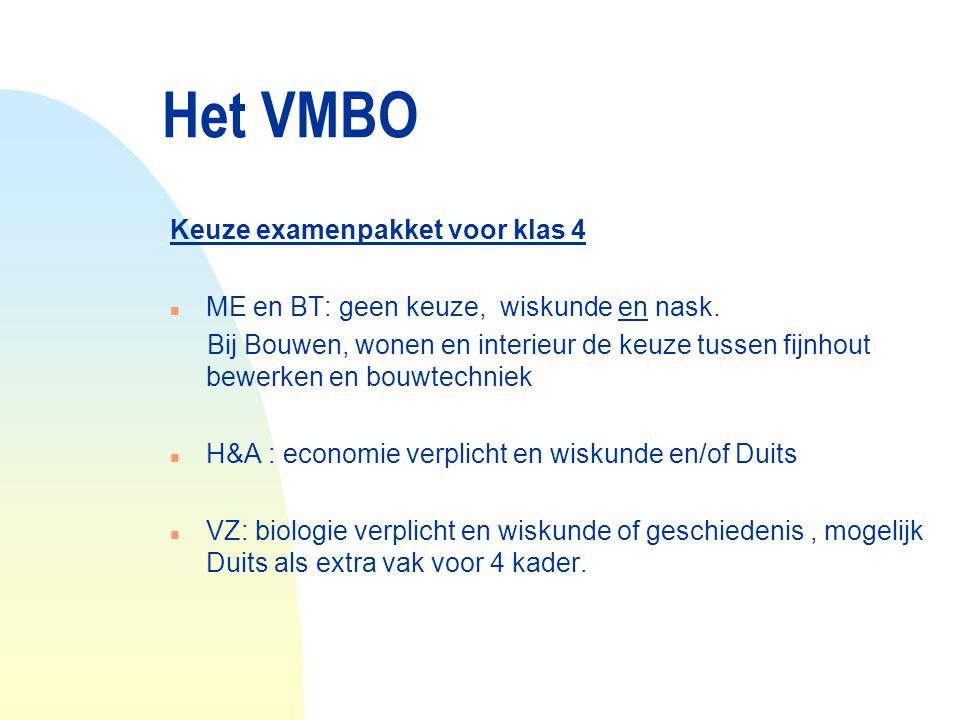 Het VMBO Keuze examenpakket voor klas 4 n ME en BT: geen keuze, wiskunde en nask. Bij Bouwen, wonen en interieur de keuze tussen fijnhout bewerken en