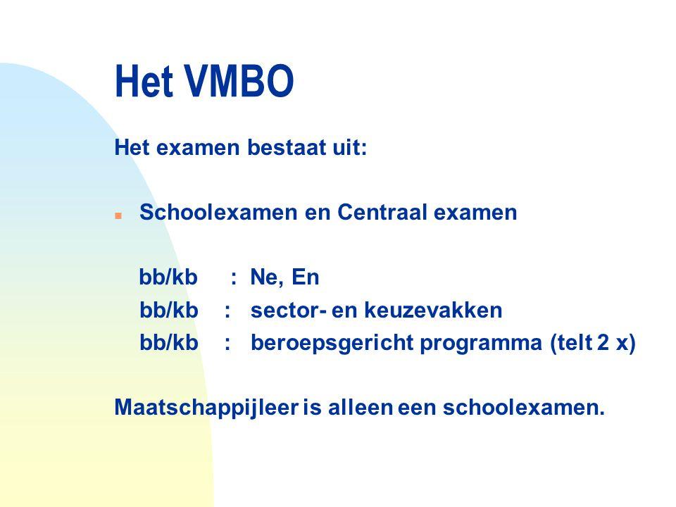 Het VMBO Het examen bestaat uit: n Schoolexamen en Centraal examen bb/kb : Ne, En bb/kb : sector- en keuzevakken bb/kb : beroepsgericht programma (tel
