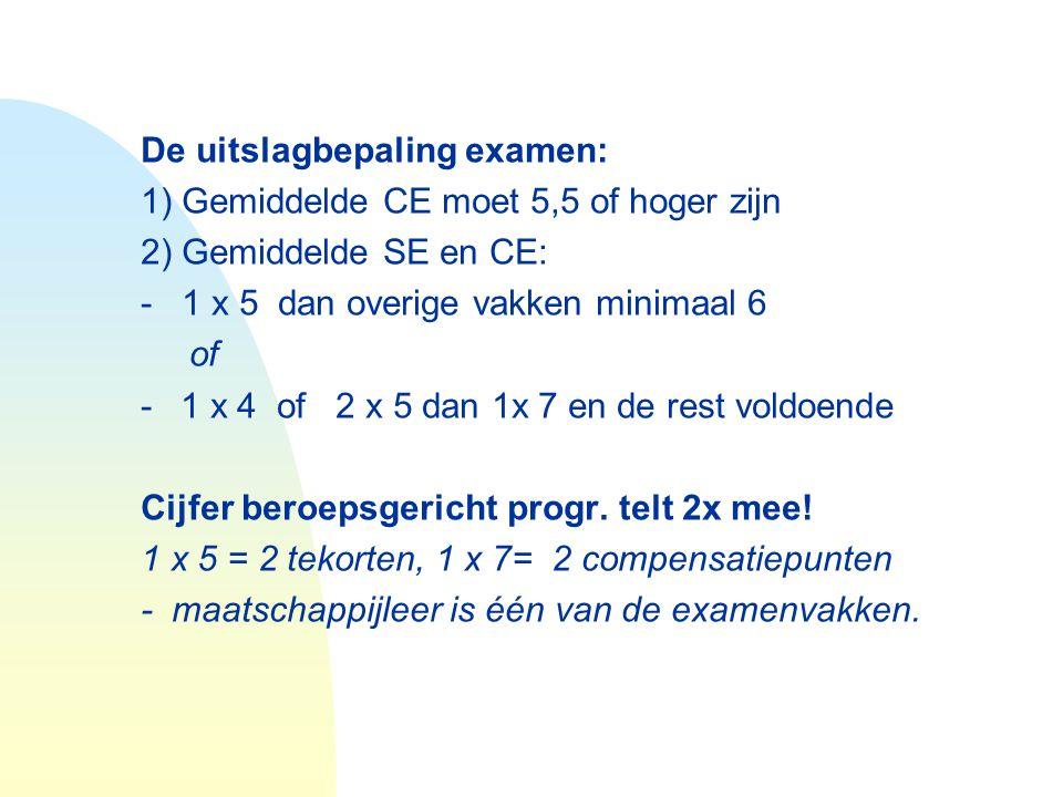 De uitslagbepaling examen: 1) Gemiddelde CE moet 5,5 of hoger zijn 2) Gemiddelde SE en CE: - 1 x 5 dan overige vakken minimaal 6 of -1 x 4 of 2 x 5 da