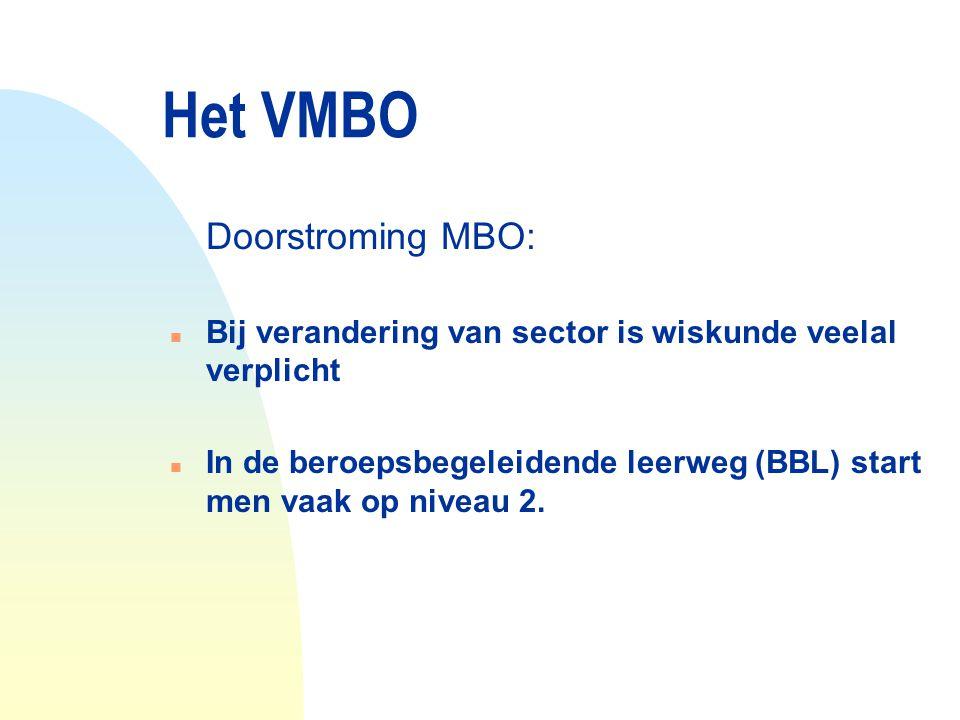 Het VMBO Doorstroming MBO: n Bij verandering van sector is wiskunde veelal verplicht n In de beroepsbegeleidende leerweg (BBL) start men vaak op nivea