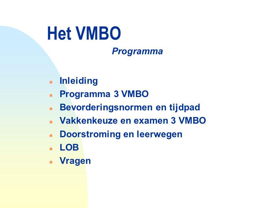 Het VMBO n Inleiding n Programma 3 VMBO n Bevorderingsnormen en tijdpad n Vakkenkeuze en examen 3 VMBO n Doorstroming en leerwegen n LOB n Vragen Prog