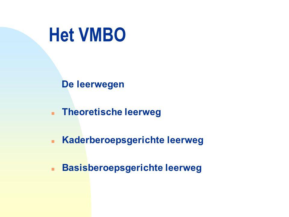 Het VMBO De leerwegen n Theoretische leerweg n Kaderberoepsgerichte leerweg n Basisberoepsgerichte leerweg