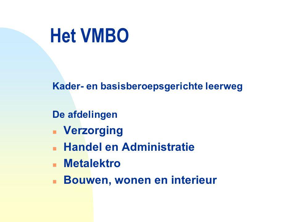 Het VMBO Kader- en basisberoepsgerichte leerweg De afdelingen n Verzorging n Handel en Administratie n Metalektro n Bouwen, wonen en interieur