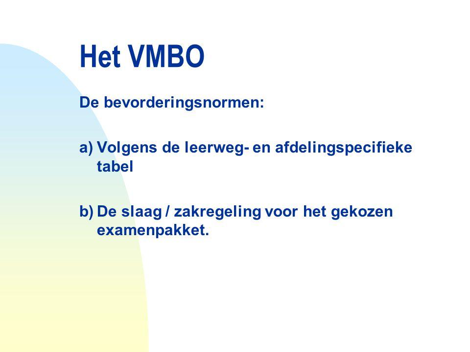 Het VMBO De bevorderingsnormen: a)Volgens de leerweg- en afdelingspecifieke tabel b)De slaag / zakregeling voor het gekozen examenpakket.
