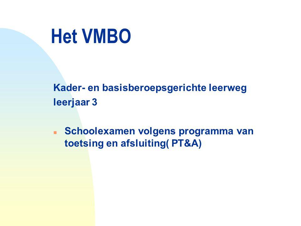 Het VMBO Kader- en basisberoepsgerichte leerweg leerjaar 3 n Schoolexamen volgens programma van toetsing en afsluiting( PT&A)